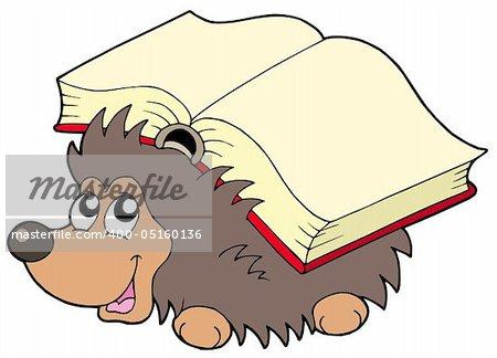Hedgehog with book - vector illustration.