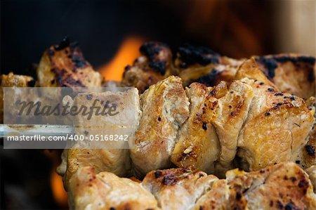 Barbecue or shashlik preparation on a brazier