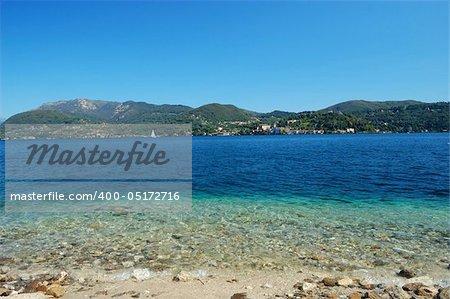Orta lake landscape in summer (Piemonte, Italy)