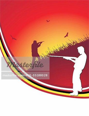 red hunter frame, vector illustration