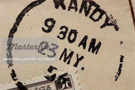 Close up of passport stamps