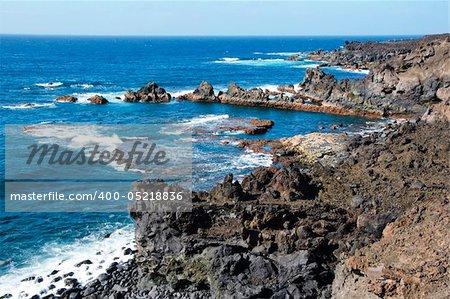 a view of Los Hervideros del Agua in Lanzarote, Canary Islands, Spain