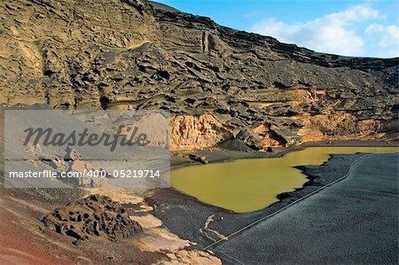 a view of Playa del Lago Verde, in Lanzarote, Canary Islands, Spain