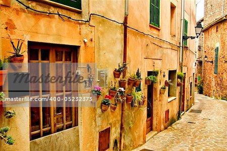 a view of a little old mediterranean village