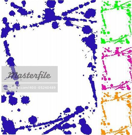 Grunge colorful frame on white background. Vector illustration