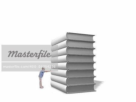 Boy pushing pile of white books over white background