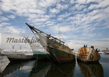 Makassar schooners (pinisi) in Paotere harbor, the old port of Makassar,  Indonesia