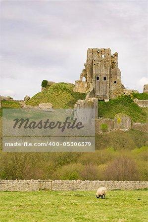 hilltop ruins of Corfe Castle in Dorset, England