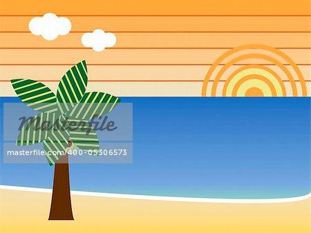 Retro Beach Sunset Landscape with palm tree