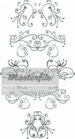 Elegant pieces, vector curves decor element tattoo