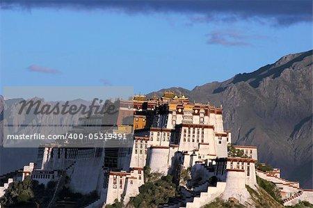 Landmark of the famous Potala Palace in Lhasa Tibet at sunrise