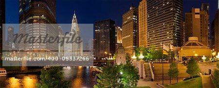 Image of Chicago riverside at night.