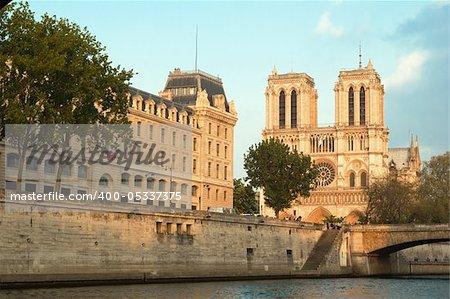 Notre Dame de Paris in spring time. View across the Seine River, France