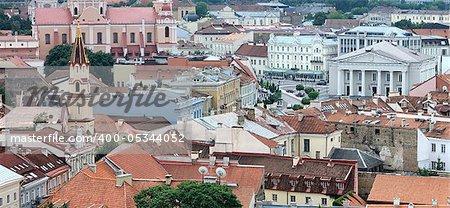 Vilnius old town panoramic view. Orthodox, catholic church. Vilnius town hall