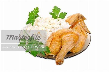 Fried chicken with rice garnish