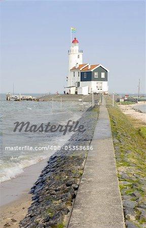 "The famous lighthouse at the east point of the peninsula of Marken, called ""het Paard van Marken"" in the IJsselmeer, the Netherlands"