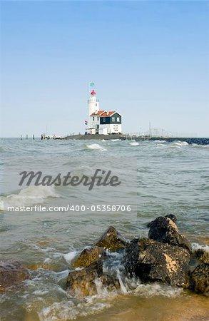 """The famous lighthouse at Marken, aptly called """"het Paard van Marken"""" in the IJsselmeer."""
