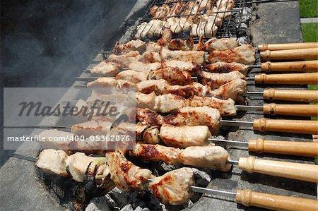 Kebab prepared on open fire