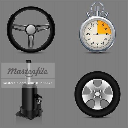 jack, steering wheel, car wheel and stop watch