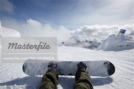 Snowboarders Feet, Whistler Mountain, Whistler, British Columbia, Canada