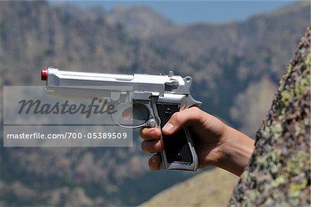 Man Pointing Gun, Aiguilles de Bavella, Korsika, Frankreich