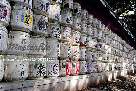 Japon, Tokyo, Harakuju, Parc Yoyogi, barils de saké