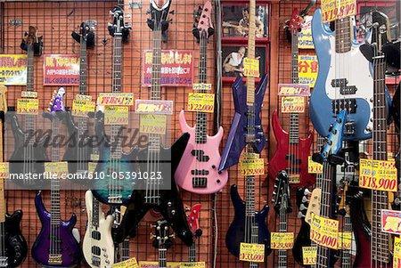 Japan, Tokyo, Ochanomizu, guitars