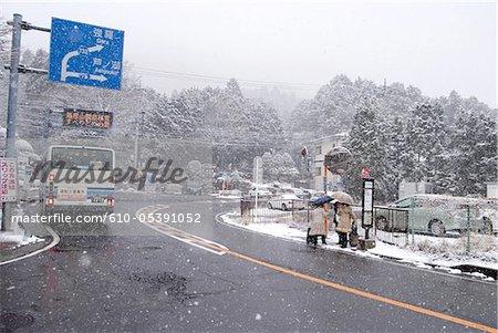 Japan, Hakone, snowy road