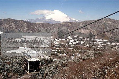 Japan, Hakone, telepherique and mount Fuji in the background