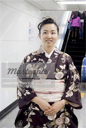 Japan, Tokyo, woman in kimono