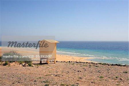 Spanien, Kanarische Inseln, Strand von Sotavento, Rettungsschwimmer Bahnhof