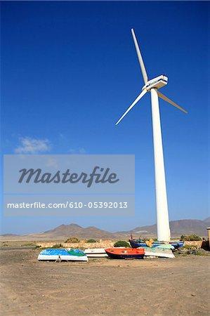 Spain, Canary islands, Jandia peninsula, wind turbine