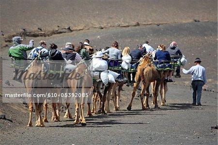 Espagne, Iles Canaries, Lanzarote, le Parc National de Timanfaya, touristes