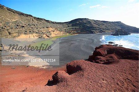 Espagne, Iles Canaries, Lanzarote, El Golfo, lac vert