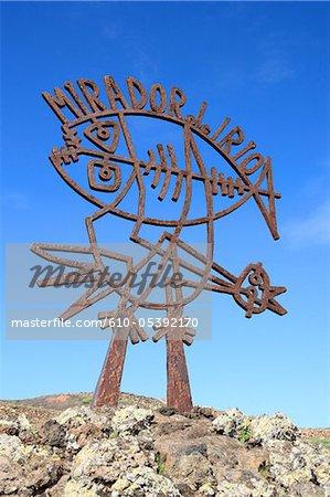 Spain, Canary islands, Lanzarote, Mirador del Rio, sculpture