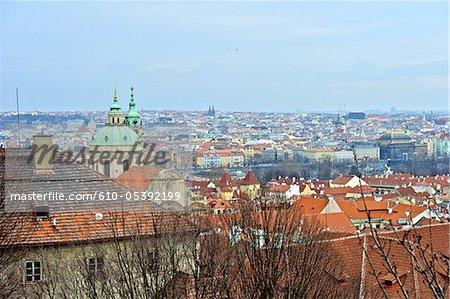 Czech Republic, Prague, roofs and St Nicolas church