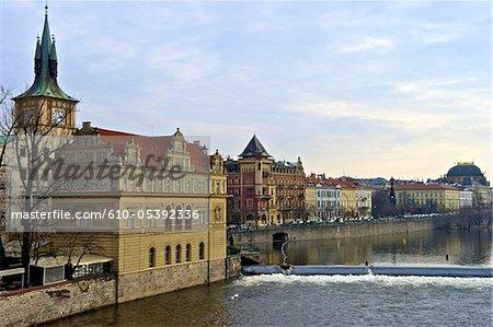 Czech Republic, Prague, bank of the Vltava river, hotel