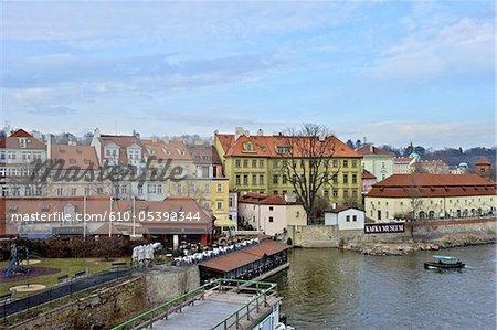 Czech Republic, Prague, boat on the Vltava river and Kafka museum