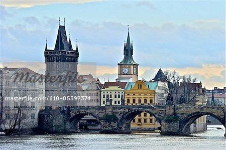 Czech Republic, Prague, Charles bridge and watchtower