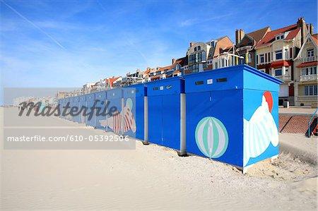 France, Nord, Malo les Bains, beach hut