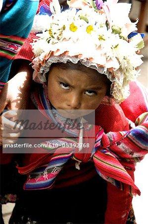 Peru, Pisac, market, child