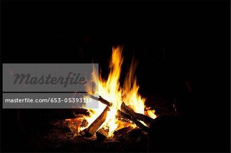 Un feu de camp feu nuit
