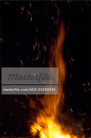 Détail des flammes d'un incendie