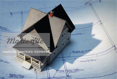 Haus auf Blueprints, horizontale