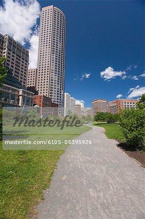 Walkway leading towards buildings, Boston, Massachusetts, USA