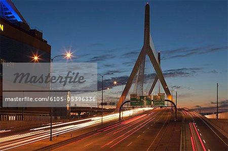 Bridge at dusk, Leonard P. Zakim Bunker Hill Bridge, Boston, Massachusetts, USA