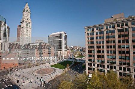 Bâtiments dans un ville, Custom House Tower, Rose Kennedy Greenway, Boston, Massachusetts, USA