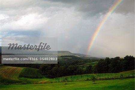 Regenbogen über Felder und Tal.