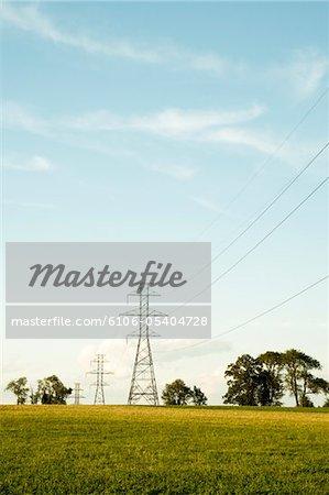 Pylonen und elektrische Stromleitungen in ländlichen Umgebung