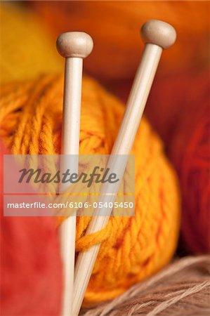 Close up of Knitting needles and yarn